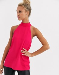Lipsy High Neck Top In Pink