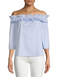 Saks Fifth Avenue Black Ruffle Off The Shoulder Top Light Blue