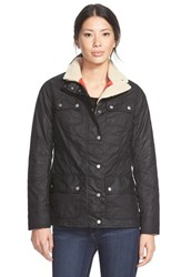 Women's Barbour 'Bartlett' Faux Shearling Trim Waxed Cotton Jacket
