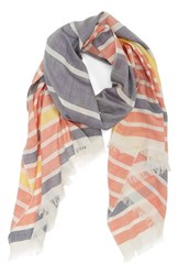 Women's Barbour 'Sealand' Stripe Silk And Cotton Scarf Blue Blue Marigold Stripe