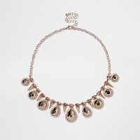 River Island Womens Rose Gold Tone Statement Gem Choker Necklace
