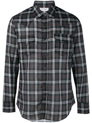 Saint Laurent Western Plaid Shirt Black