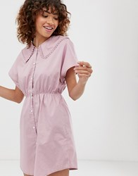 Monki Mini Dress With Short Sleeve And Oversized Collar In Lilac Purple