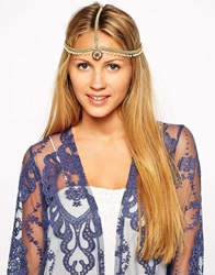 Kasturjewels Beaded Chain Statement Headband Gold