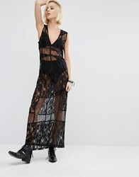 Religion Maxi Dress In Sheer Lace Black