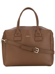 Furla Double Top Handles Tote Women Leather One Size Brown