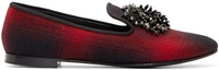 Giuseppe Zanotti Red Plaid Beaded Dalila Slippers