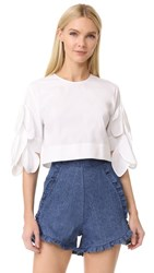 Msgm Poplin Top With Side Ties White