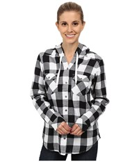 Columbia Times Two Hooded Long Sleeve Shirt White Buffalo Plaid Women's Long Sleeve Button Up