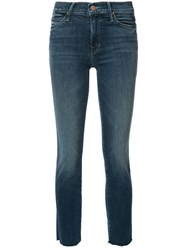 Mother Skinny Cropped Jeans Blue
