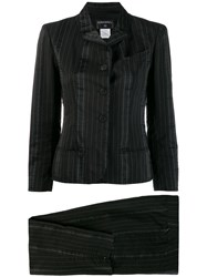 Chanel Vintage 2003'S Striped Skinny Two Piece Suit Black