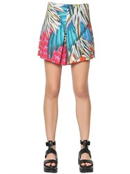 Clover Canyon Carnival Printed Crepe De Chine Shorts