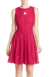 Gabby Skye Keyhole Neck Lace Fit And Flare Dress Pink
