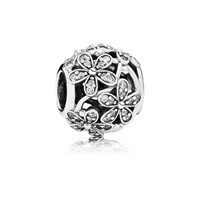 Pandora Design Daisy Silver Charm With Cubic Zirconia