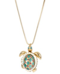 Betsey Johnson Gold Tone Glass Pearl Crystal Turtle Pendant