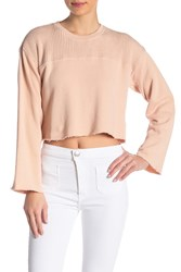Current Elliott The Acture Knit Cropped Pullover Sweater Rose Dust With