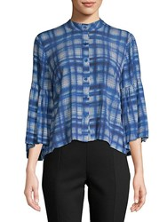 Plenty By Tracy Reese Plaid Bell Sleeve Button Down Shirt Indigo