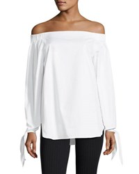 J.O.A. Off The Shoulder Long Sleeve Top White