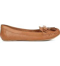 Carvela Leaf Leather Loafers Tan