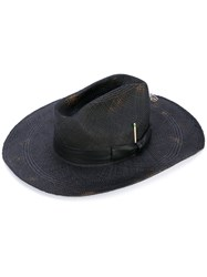 Nick Fouquet Distressed Hat Women Leather Straw 57 Black