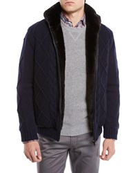 Neiman Marcus Fur Lined Cashmere Wool Fisherman Knit Blouson Jacket Navy