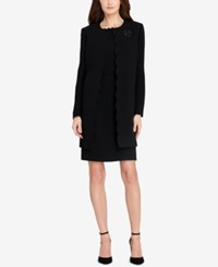 Tahari By Arthur S. Levine Asl Scalloped Topper Jacket And Sheath Dress Black
