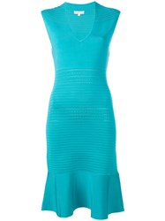 Michael Michael Kors Ribbed Trim Fitted Dress Green