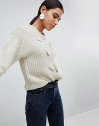 Girl In Mind Cable Front Detail Jumper Stone