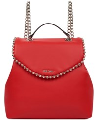 Nine West Aveline Chain Strap Backpack Fiery Red Silver