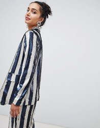 Lost Ink Relaxed Blazer In Sequin Stripe Co Ord Multi