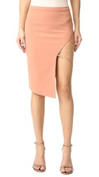 Michelle Mason Mesh Panel Asymmetrical Skirt Terracotta