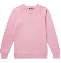 Tom Ford Garment Dyed Loopback Cotton Jersey Sweatshirt Pink