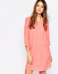 Vero Moda 3 4 Sleeve Shift Dress With Front Pockets Pink