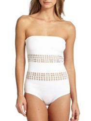 Clover Canyon One Piece Laser Bandeau Swimsuit White