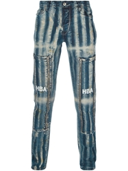Hood By Air Striped Slim Fit Jeans Blue