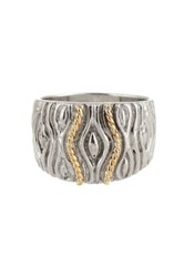 Candela Sterling Silver And 14K Yellow Gold Patterned Wide Ring Metallic