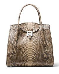 Michael Kors Bancroft Large Python Satchel Bag Medium Beige