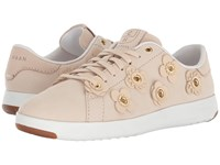 Cole Haan Grandpro Tennis Brazilian Sand Nubuck Brazilian Sand Leather Flowers Optic White Lace Up Casual Shoes Beige