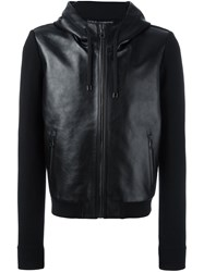 Dolce And Gabbana Jersey Sleeve Leather Jacket Black