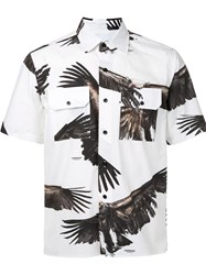 Yoshio Kubo Eagle Print Short Sleeve Shirt Men Cotton 1 White