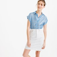 J.Crew Petite Short Sleeve Popover Shirt In Metallic Gingham