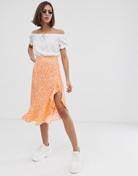 Bershka Ditsy Floral Asymmetric Skirt In Orange Orange