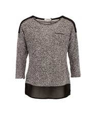 Morgan Heathered Knit And Chiffon Top Grey