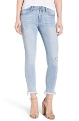 Evidnt Frayed Hem Ankle Skinny Jeans Denim Blue