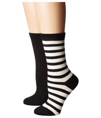 Kate Spade Cashmere Stripe Sparkle Gifting 2 Pack Crew In Box Black 2 Women's Crew Cut Socks Shoes