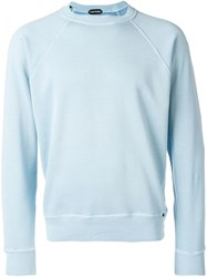 Tom Ford Knitted Crew Neck Jumper Blue