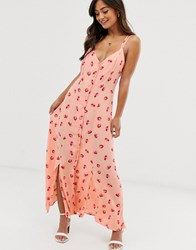 Ghost Thea Crepe Floral Print Cami Midi Dress With Button Front Pink
