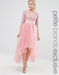 Chi Chi Petite London Premium Metallic Lace Midi Prom Dress With Tulle Skirt Dusty Rose Pink