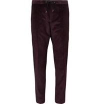 Hugo Boss Grape Slim Fit Tapered Cotton Corduroy Drawstring Suit Trousers Burgundy