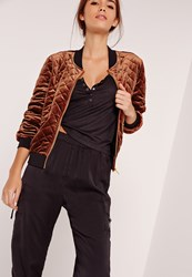 Missguided Quilted Bomber Jacket Bronze
